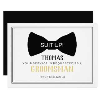 Suit Up Groomsman Card - Black Tie