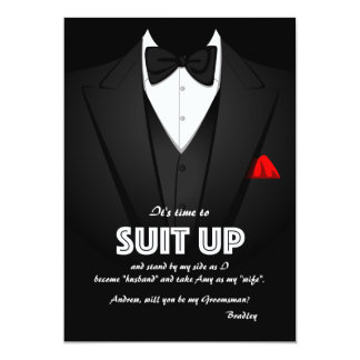 "Suit Up Groomsman Request Card 5"" X 7"" Invitation Card"