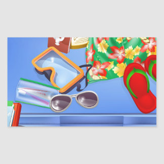 Suitcase and vacation items stickers