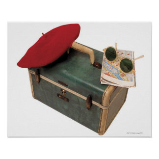 Suitcase beret map and sunglasses poster