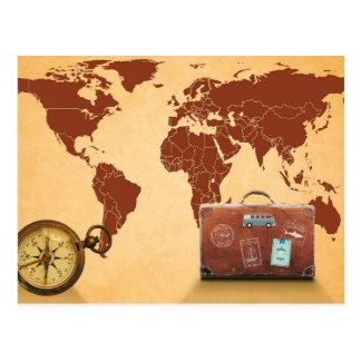 Suitcase, Compass & World Map Postcard