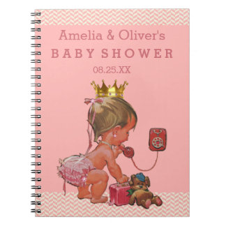 Suitcase Princess on Phone Baby Shower Guest Book