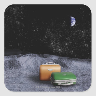 Suitcases on the Moon Square Sticker