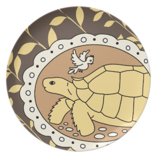 Sulcata Tortoise Plate (brown oval)