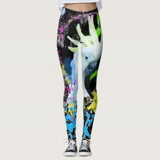 Sulfur Crested Cockatoo Parrot Tropical Wild Bird Leggings