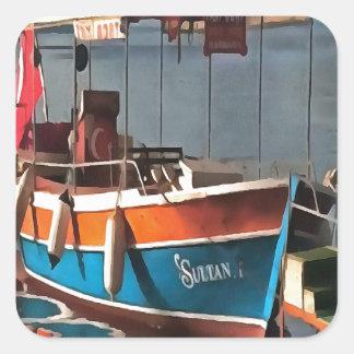 Sultan Taxi Boat Marmaris Square Sticker