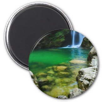 Sum Waterfall in Vintgar Gorge, near Bled, Sloveni 2 Inch Round Magnet