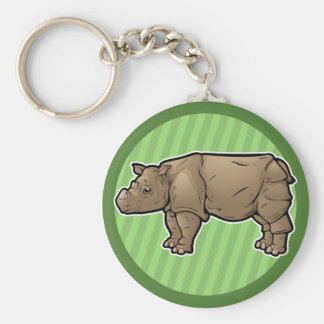 Sumatran Rhinoceros Basic Round Button Keychain