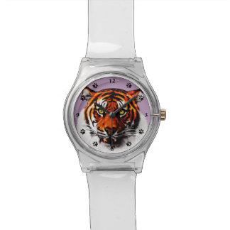 Sumatran Tiger Eyes Nature Art Custom Color BG Watches