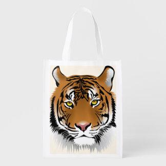 Sumatran Tiger Face Wildlife Illustration Reusable Grocery Bag