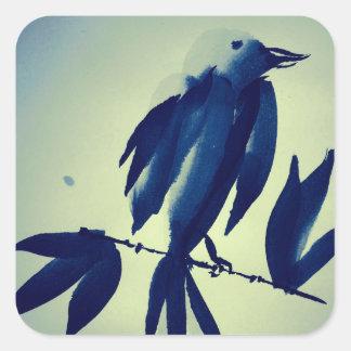 Sumi-e Indigo Bird Study Stickers