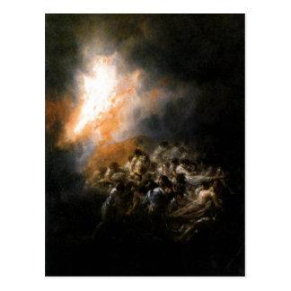 Summary Description Incendio, fuego de noche. ?leo Postcard