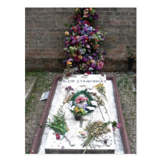 Summary: Grave of Igor Stravinsky in San Michele.  Postcard