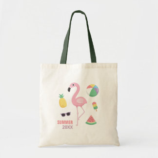 Summer 20XX Pink Flamingo Luau Girls Tote Bag