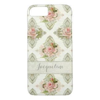 Summer at the Cottage, Vintage Damask Rose Pattern iPhone 8/7 Case