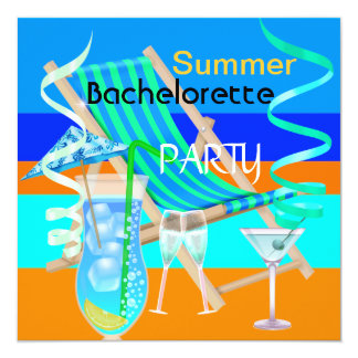 """Summer Bachelorette Party Teal Blue Cool Drinks 5.25"""" Square Invitation Card"""