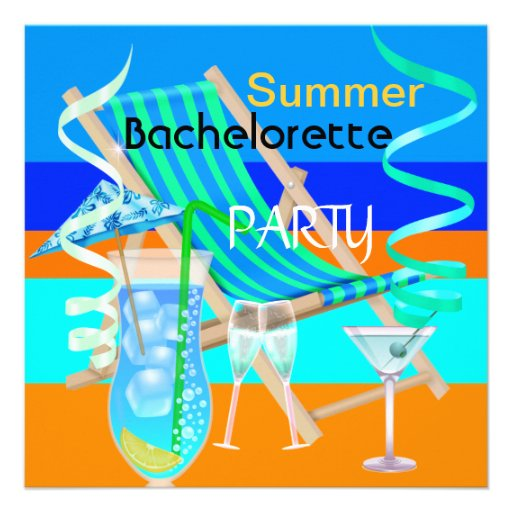 Summer Bachelorette Party Teal Blue Cool Drinks Personalized Invitation