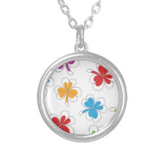 Summer Background Clover Leaf Silver Plated Necklace