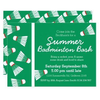 Summer badminton bash party invite green & white