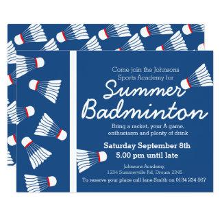 Summer badminton event invite blue & white