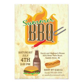 Summer Barbecue Burger & Brew Party Invitation