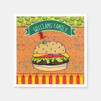 Summer BBQ Cheeseburger Add Name Paper Napkin