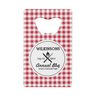 Summer BBQ Grill Cookout Reunion Red Gingham Check Wallet Bottle Opener