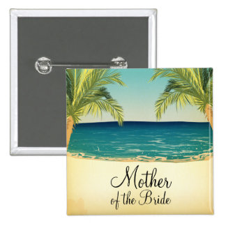 Summer Beach and Palm Trees Mother of the Bride 2 Inch Square Button