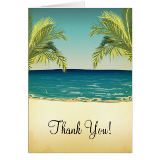 Summer Beach and Palm Trees Wedding Thank You Card