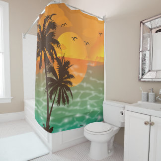 Summer beach at sunset Shower Curtain