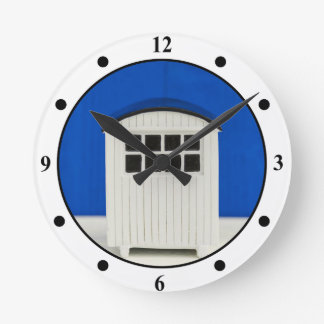 Summer Beach cabin in blue and white Wall Clocks