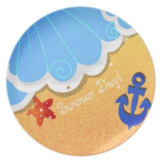 Summer Beach melamine plate