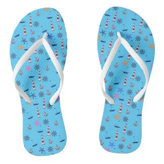 Summer Beach Nautical Blue Pattern Flip Flops