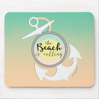 Summer Beach Nautical Typography Mouse Pad