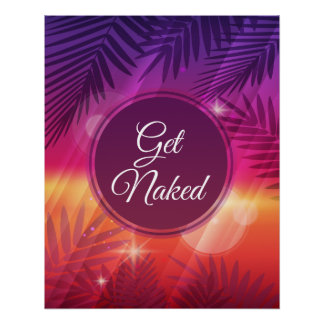 Summer Beach Night Palm Get Naked Perfect Poster