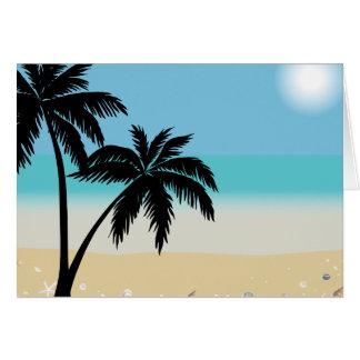 Summer Beach Palm Tree Blank Notecard