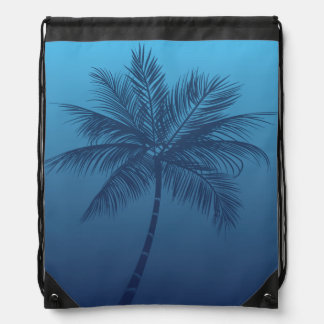 Summer Beach Palm Tree Blue Cinch Bag