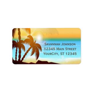 Summer Beach Palm Trees Custom Address Labels
