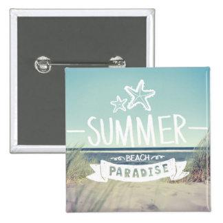 Summer Beach Paradise 2 Inch Square Button