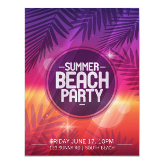 Summer Beach Party Night Invitation