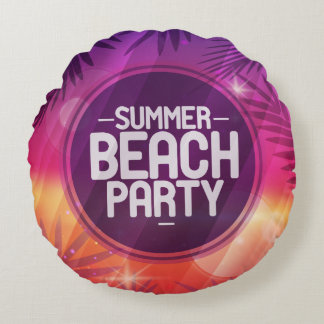 Summer Beach Party Night Round Pillow