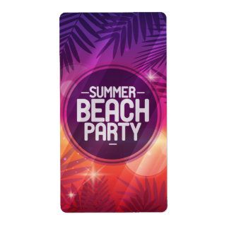 Summer Beach Party Night Shipping Label