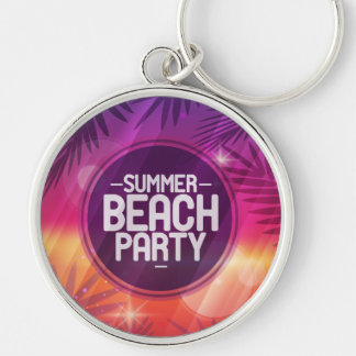 Summer Beach Party Night Silver-Colored Round Keychain
