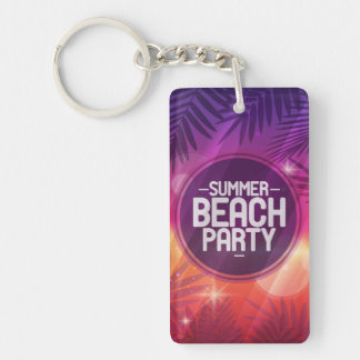 Summer Beach Party Night Single-Sided Rectangular Acrylic Keychain