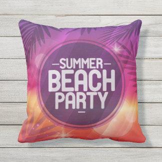 Summer Beach Party Night Throw Pillow