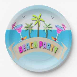 Summer Beach Party Paper Plates 9 Inch Paper Plate