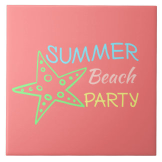 Summer Beach Party Pretty Pastels Tile