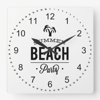 Summer Beach Party Square Wall Clock