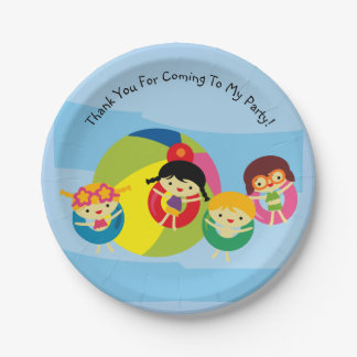 Summer Beach Pool Party Birthday Paper Plate 7 Inch Paper Plate