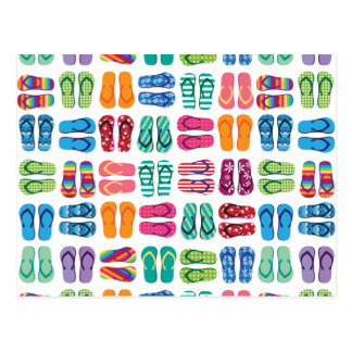 Summer Beach Pool Party Flip Flops Thank You Postcard